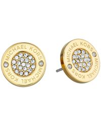 Michael Kors | Metallic Logo With Clear Pavé Center Stud Earring | Lyst