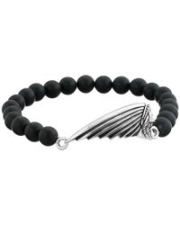 King Baby Studio | 8mm Black Onyx Bead Bracelet With Indian Motorcycle Logo Headdress | Lyst