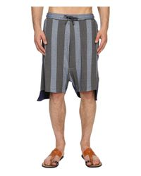 Vivienne Westwood - Gray Printed Stripe Jersey Twist Seam Shorts for Men - Lyst