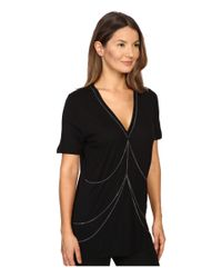 The Kooples - Black Viscose Jersey & Chains - Lyst