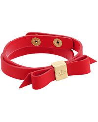 kate spade new york | Metallic Wrap Things Up Leather Bow Wrap Bracelet | Lyst
