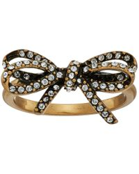 Marc Jacobs - Metallic Bow Pave Twisted Ring - Lyst