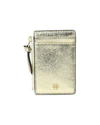 Tory Burch | Crinkle Metallic Zip Card Case | Lyst