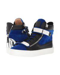 fe78686655dc0 Giuseppe Zanotti. Men's Blue May London Flocked Hardware High Top Sneaker