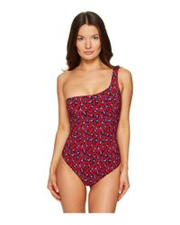 Stella McCartney - Red Leopard One Shoulder Suit - Lyst