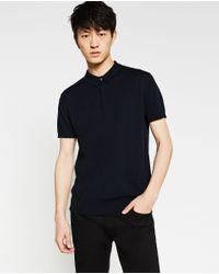 Zara | Blue Cotton Polo Shirt for Men | Lyst