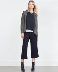 Zara | Gray Draped Neck Cardigan | Lyst