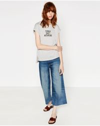 Zara | Gray Appliqué Text T-shirt | Lyst