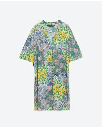 Zara | Blue Floral-Print Tunic Dress | Lyst