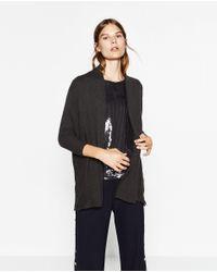Zara | Gray Ribbed Jacket With Draped Neck | Lyst