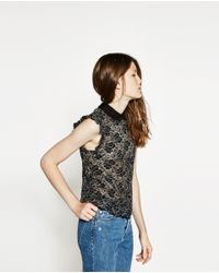 Zara   Black Lace Shirt   Lyst