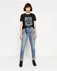 Zara | Black Text And Patch Top | Lyst