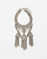 Zara | Gray Rhinestone Necklace | Lyst