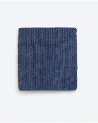 Zara   Blue Two-tone Knit Scarf for Men   Lyst
