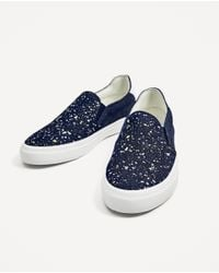 Zara | Blue Denim Sneakers With Paint Splatter | Lyst