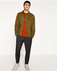 Zara | Multicolor Overshirt With Elbow Patches for Men | Lyst