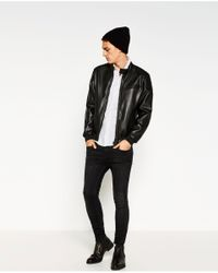 Zara | Black Biker Jacket for Men | Lyst