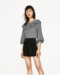 Zara | Black Frilled Gingham Top | Lyst