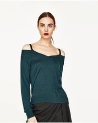 Zara | Green Cut Out V-neck Sweater | Lyst