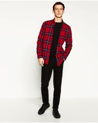 Zara | Red Check Flannel Shirt for Men | Lyst