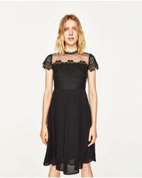 Zara | Black Guipure Lace Midi Dress | Lyst