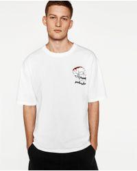 Zara   White Skull T-shirt for Men   Lyst