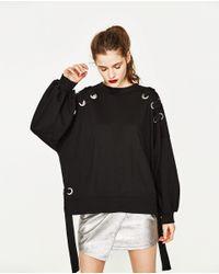Zara | Black Sweatshirt With Eyelets | Lyst