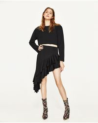 Zara | Black Asymmetric Mini Skirt | Lyst
