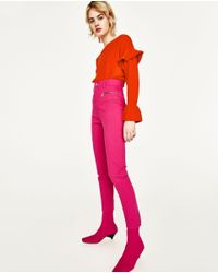 Zara | Pink High Rise Trousers With Zips | Lyst