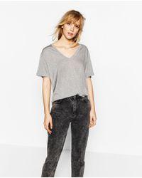 Zara | Gray Basic T-shirt | Lyst