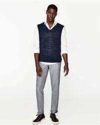 Zara | Blue Basic Linen Trousers for Men | Lyst
