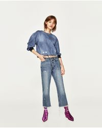Zara | Blue Low-rise Straight Fit Cropped Jeans | Lyst