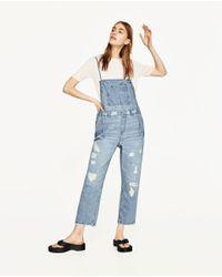 Zara   Blue Denim Jumpsuit   Lyst