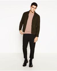 Zara | Brown Biker Jacket for Men | Lyst