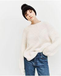 Zara | Black Rib Knit Hat With Pom-pom | Lyst