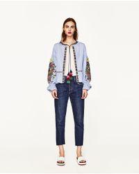 Zara | Blue Embroidered Jacket | Lyst