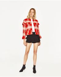 Zara | Red Short Cardigan With Frills | Lyst