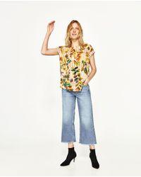 Zara | Multicolor Floral Print T-shirt | Lyst