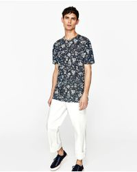 Zara | Blue Floral Linen T-shirt for Men | Lyst