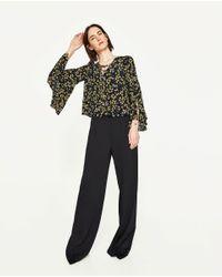 Zara | Black Floral Print Blouse | Lyst