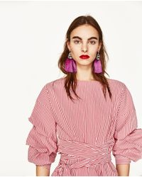 Zara | Pink Pompom Earrings | Lyst