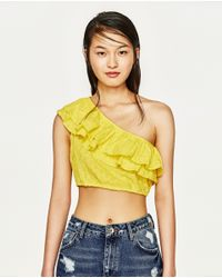 Zara   Yellow Short Frilled Top   Lyst