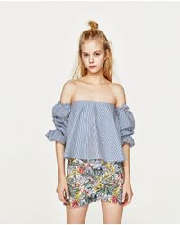 Zara | Blue Printed Mini Skirt | Lyst