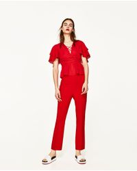 Zara | Red Frilly Blouse | Lyst