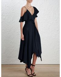 Zimmermann - Blue French Navy Sueded Asymmetric Wrap Dress - Lyst
