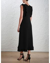 Zimmermann - Black Pleat Midi Dress - Lyst
