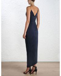 Zimmermann - Blue Sueded Silk Plunge Long Dress - Lyst