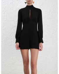 Zimmermann - Black Collared Tuck Playsuit - Lyst