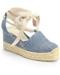 Ralph Lauren Collection - Uma Denim Espadrille Wedge Sandals - Lyst