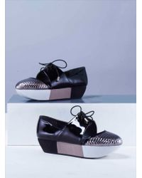 Joanne Stoker - Ivan Black & Silver Leather Flatform Shoes - Last Pair By - Lyst